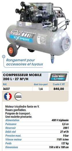 Compresseur mobile 200 l - 27 m3-h