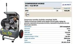 Compresseur mobile 24 l - 12,8 m3-h