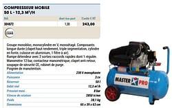Compresseur mobile 50 l - 12,3 m3-h