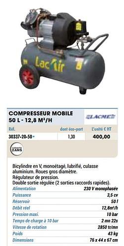 Compresseur mobile 50 l - 12,8 m3-h