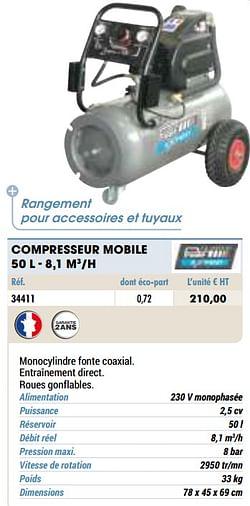 Compresseur mobile 50 l - 8,1 m3-h
