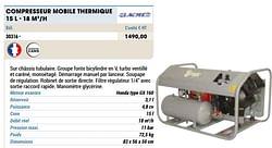 Compresseur mobile thermique 15 l - 18 m3-h