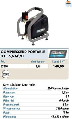 Compresseur portable 3 l - 6,6 m3-h