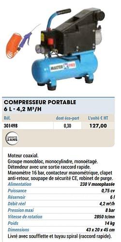 Compresseur portable 6 l - 4,2 m3-h