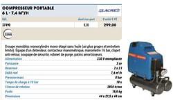 Compresseur portable 6 l - 7,4 m3-h