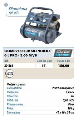 Compresseur silencieux 6 l pro - 3,66 m3-h