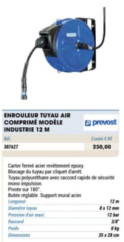 Enrouler tuyau air comprime modele industrie 12 m