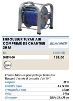 Enrouleur tuyau air comprime de chantier