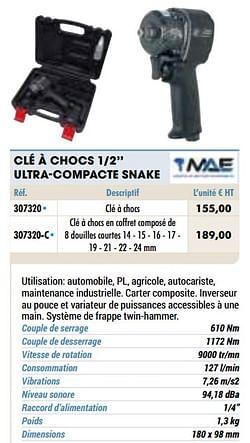 Mae clé à chocs 1-2`` ultra-compacte snake