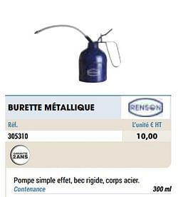 Burette métallique