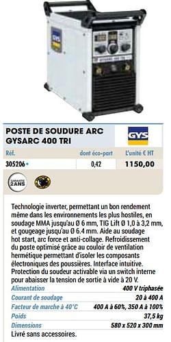 Gys poste de soudure arc gysarc 400 tri