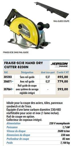 Jepson power fraise-scie hand dry cutter 8230n