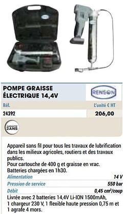 Renson pompe graisse électrique 14,4v