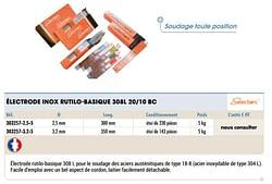 Électrode inox rutilo-basique 308l 20-10 bc