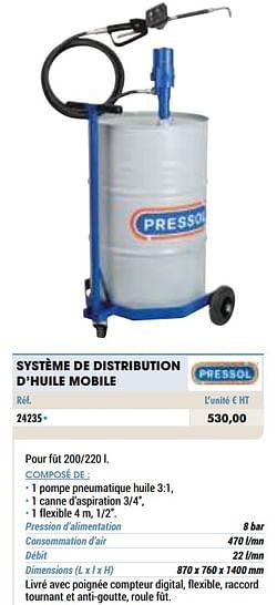 Système de distribution d`huile mobile