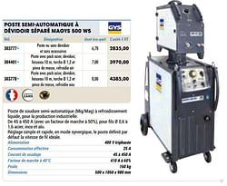 Gys poste semi-automatique à dévidoir séparé magys 500 w5