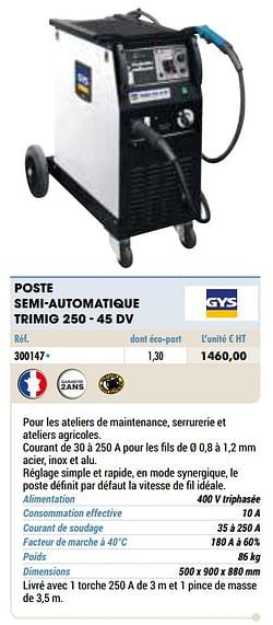 Gys poste semi-automatique trimig 250 - 45 dv