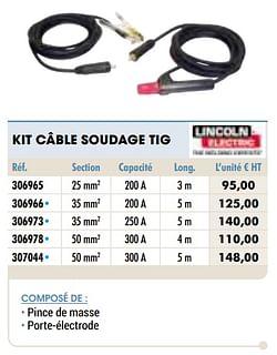 Kit câble soudage tig