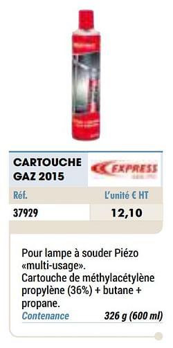 Cartouche gaz 2015