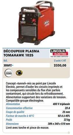 Découpeur plasma tomahawk 1025