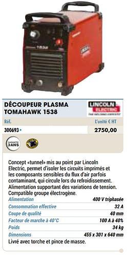 Découpeur plasma tomahawk 1538