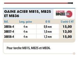 Gaine acier mb15, mb25 et mb36