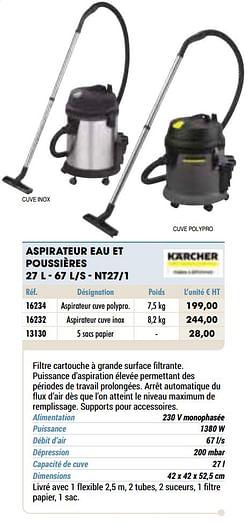 Kärcher aspirateur eau et poussières 27 l - 67 l-s - nt27-1