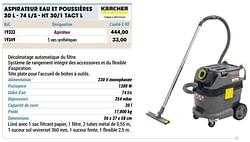 Kärcher aspirateur eau et poussières 30 l - 74 l-s - nt 30-1 tact l