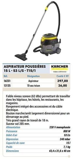Kärcher aspirateur poussières 15 l - 53 l-s - t15-1