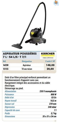 Kärcher aspirateur poussières 7 l - 54 l-s - t 7-1