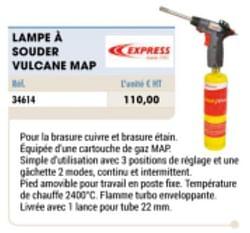 Lampe à souder vulcane map