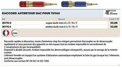 Raccord antiretour gaz pour tuyau