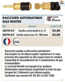 Raccord automatique gaz neutre