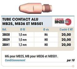 Tube contact alu mb25 mb36 et mb501