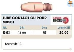 Tube contact cu pour mb501
