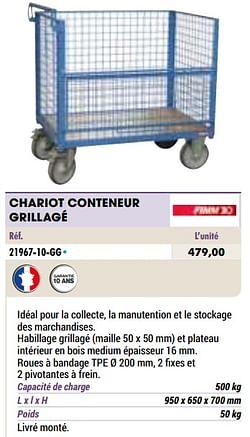 Chariot conteneur grillagé