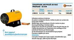 Chauffage air pulsé au gaz propane