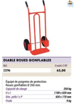 Diable roues gonflables