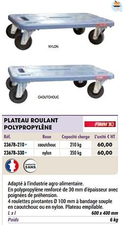 Plateau roulant polypropylène