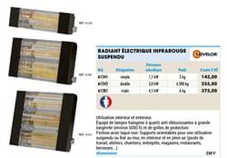 Radiant électrique infrarouge suspendu