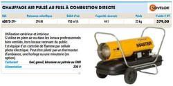 Sovelor chauffage air pulsé au fuel à combustion directe