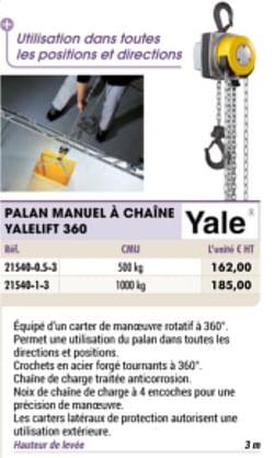 Palan manuel a chaine yalelift 360
