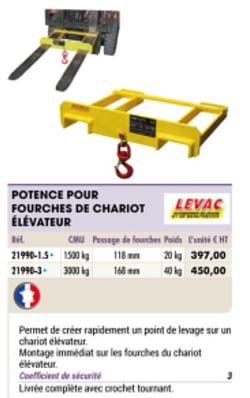 Potence pour fourches de chariot elevateur