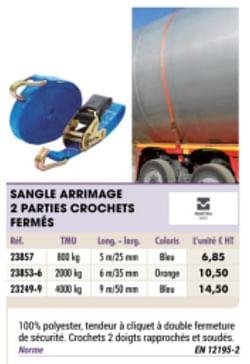 Sangle arrimage 2 parties crochets fermes