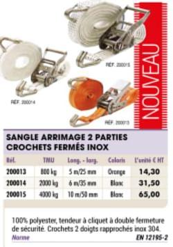 Sangle arrimage 2 parties crochets fermes inox