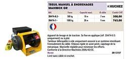 Treuil manuel à engrenages manibox gr