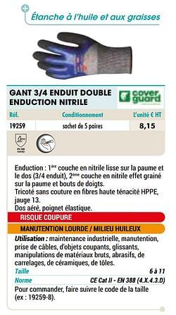 Gant 3-4 enduit double enduction nitrile