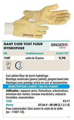 Gant cuir tout fleur hydrofuge