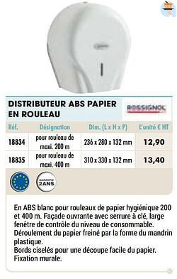 Distributeur abs papier en rouleau