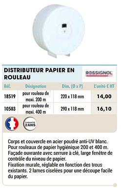 Distributeur papier en rouleau